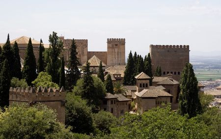 View of the palaces of La Alhambra from the Generalife gardens.