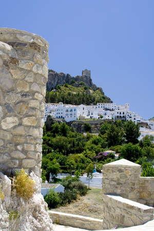 andalucia: Zahara de la Sierra is a white village (Pueblo Blanco) in Cadiz province, Andalucia, Spain Stock Photo