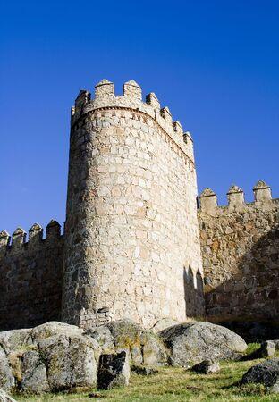 Medieval city walls in Avila Spain photo