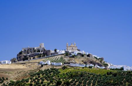 andalucia: Olvera is a white village (pueblo blanco) in Cadiz province, Andalucia, Spain.  It features a moorish fortress and a neoclassic cathedral overlooking the whitewashed village. Stock Photo