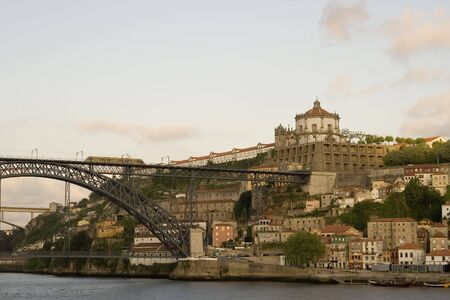luis: View of the Dom Luis bridge and the Mosteiro da Serra do Pilar in Vila Nova da Gaia, across the river Douro from Porto in Portugal. Stock Photo