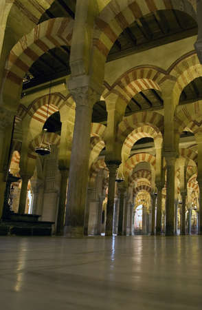 Interior of the Mezquita in Cordoba with its moorish arches.