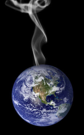 a courtesy: Photo montage representing global warming with smoke rising from the earth.  Earth photo courtesy of NASA visibleearth.nasa.gov