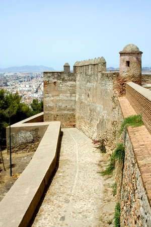Castillo de Gibralfaro in Malaga, Andalucia Spain.  Built by the moors at the beginning of the 14th century.