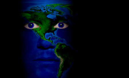 北米および南米の男の顔の塗装投影の地図。