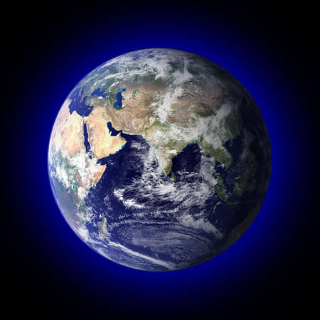 View of the earth from space with a blue halo around it.  Earth photo courtesy of NASA visibleearth.nasa.gov photo