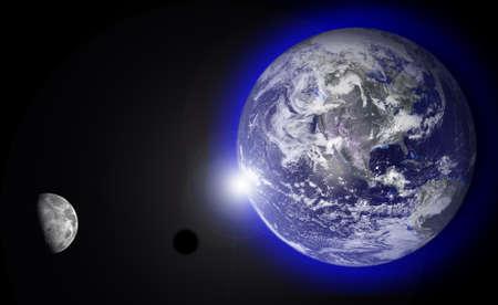 courtoisie: Photo montage du soleil levant derri�re la Terre avec la lune. Earth Photo gracieuset� de la NASA visibleearth.nasa.gov Banque d'images