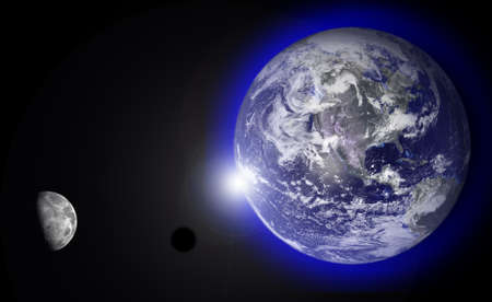 Photo montage of the sun rising from behind the earth with moon.  Earth photo courtesy of NASA visibleearth.nasa.gov