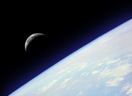 Photo montage of a crescent moon rising from behind the earth with a light blue halo.  Earth and moon photos courtesy of NASA.