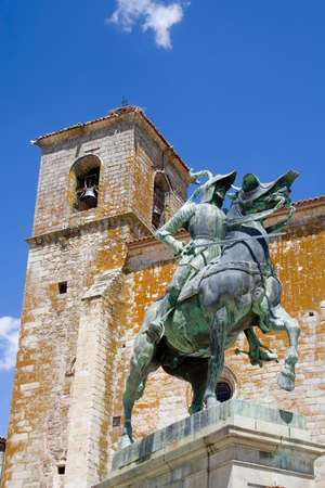 conquistador: Statue of Francisco Pizarro in Plaza Mayor, Trujillo, Spain.