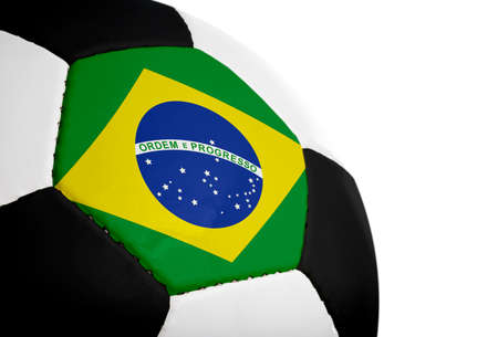 Brazilian flag painted/projected onto a football (soccer ball).  Isolated on a white background. Stock Photo - 1647806
