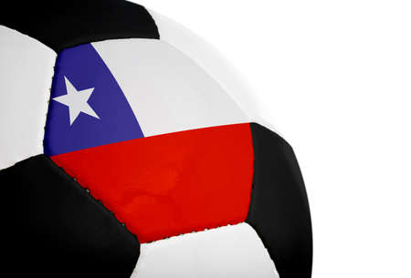 Chilean flag painted/projected onto a football (soccer ball).  Isolated on a white background. Stock fotó
