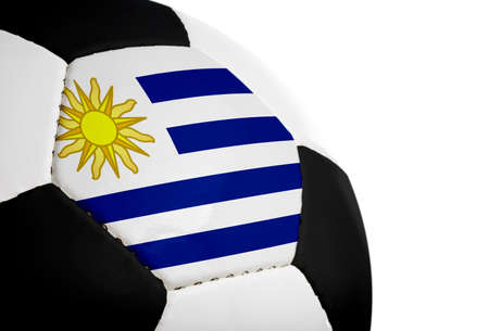 Uruguayan flag painted/projected onto a football (soccer ball).  Isolated on a white background. Stock fotó - 1647804