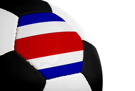 costa rican: Costa Rican flag paintedprojected onto a football (soccer ball).  Isolated on a white background. Stock Photo