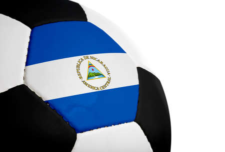nicaraguan: Nicaraguan flag paintedprojected onto a football (soccer ball).  Isolated on a white background.