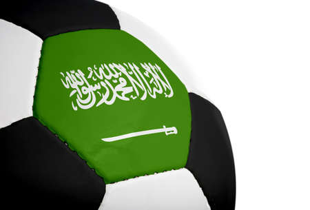 Saudi Arabian flag paintedprojected onto a football (soccer ball).  Isolated on a white background. photo