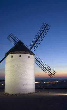 Medieval windmills dating from the 16th century overlooking the town of Campo de Criptana in Ciudad Real province, Castilla La Mancha, central Spain.  Made famous in Miguel de Cervantes Saavedra's novel Don Quijote de la Mancha, these windmills are situat Stock Photo - 2086158