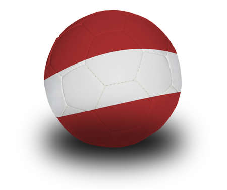 austrian: Football (soccer ball) covered with the Austrian flag with shadow on a white background.   Stock Photo