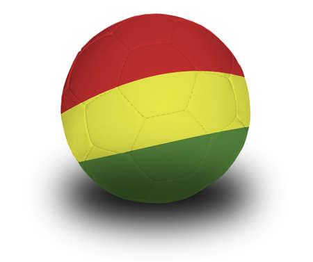 Voetbal (voetbal) bedekt met de Boliviaanse vlag met schaduw op een witte achtergrond.