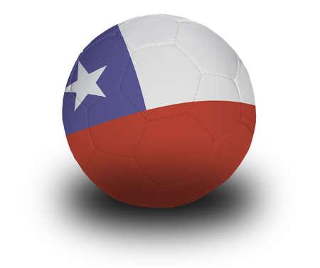 bandera chilena: Football (bal�n de f�tbol), cubierto con la bandera chilena con sombra sobre un fondo blanco.
