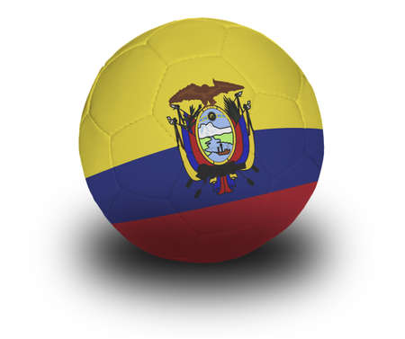 Football (soccer ball) covered with the Ecuadorian flag with shadow on a white background. Stock fotó - 2130101