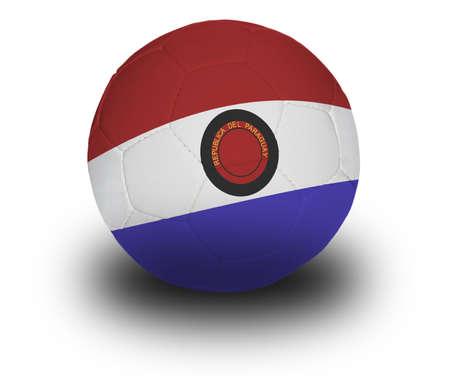 Voetbal (soccer ball) bedekt met de Paraguayaanse vlag met schaduw op een witte achtergrond.