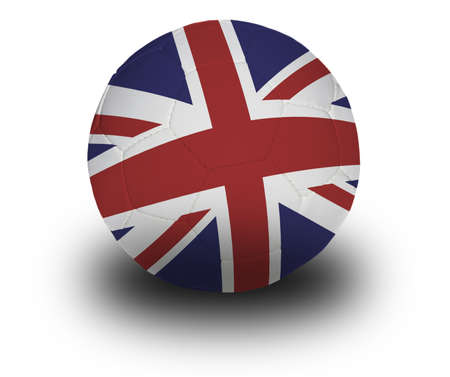 Football (soccer ball) covered with the British flag with shadow on a white background.