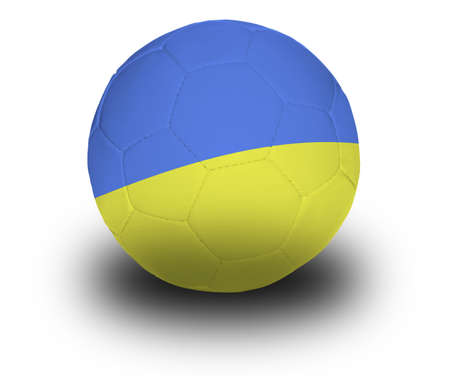 Football (soccer ball) covered with the Ukrainian flag with shadow on a white background. Stockfoto