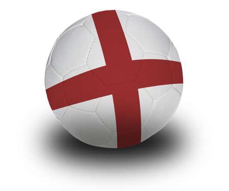 Voetbal (voetbal) bedekt met de Engels vlag met schaduw op een witte achtergrond.  Stockfoto