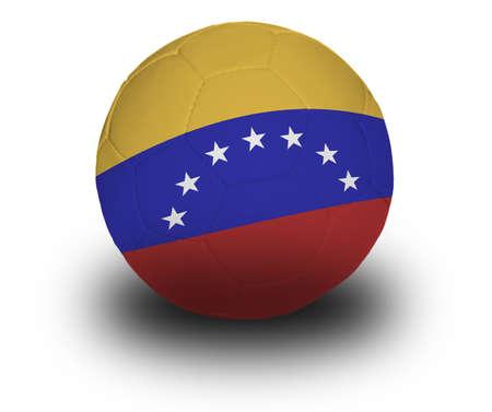 Voetbal (soccer ball) bedekt met de Venezolaanse vlag met schaduw op een witte achtergrond.