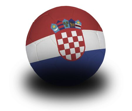 Football (soccer ball) covered with the Croatian flag with shadow on a white background.   Stok Fotoğraf