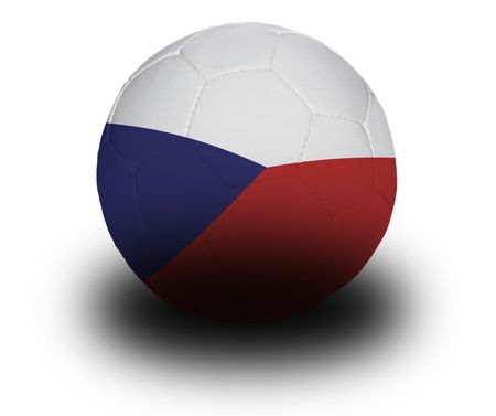 Football (soccer ball) covered with the Czech flag with shadow on a white background.