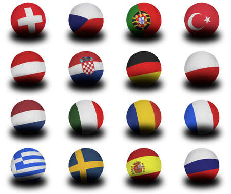 Set of Footballs (soccer balls) of the representative nations of the upcoming European Championships in 2008.