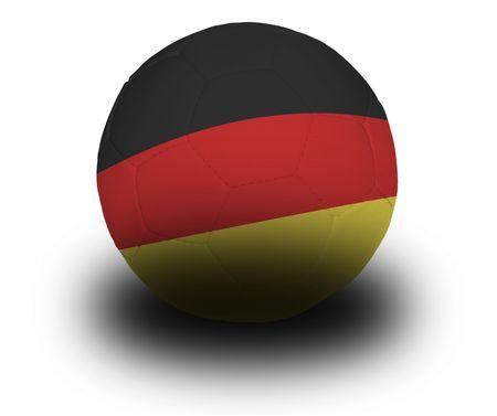 Voetbal (voetbal) bedekt met de Duitse vlag met schaduw op een witte achtergrond.