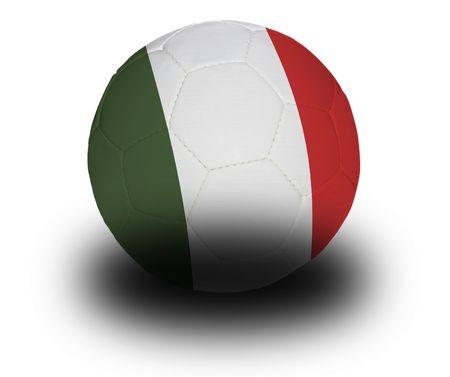 Football (voetbal), bedekt met de Italiaanse vlag met schaduw op een witte achtergrond.