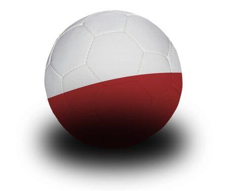 Football (voetbal), bedekt met de Poolse vlag met schaduw op een witte achtergrond.