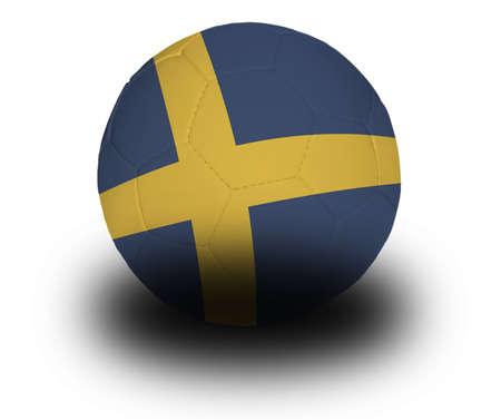 Voet bal (voet bal) bedekt met de Zweedse vlag met schaduw op een witte achtergrond.