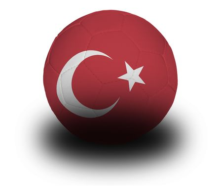 Football (soccer ball) covered with the Turkish flag with shadow on a white background.  Stock fotó