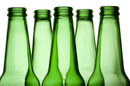 Green Bottles isolated on a white background 版權商用圖片