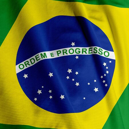 Close up of the Brazilian flag, square image