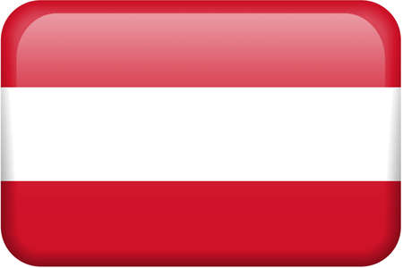 Austrian flag rectangular button.  Part of set of country flags all in 2:3 proportion with accurate design and colors.