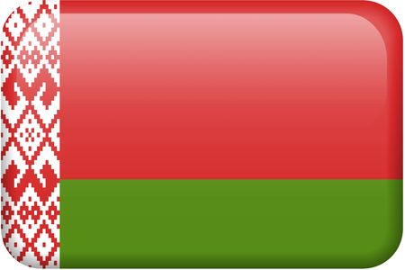 Belarussian flag rectangular button.  Part of set of country flags all in 2:3 proportion with accurate design and colors.