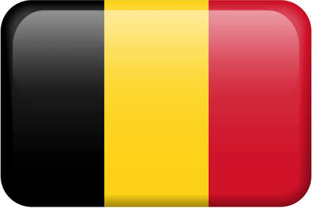 Belgian flag rectangular button.  Part of set of country flags all in 2:3 proportion with accurate design and colors.
