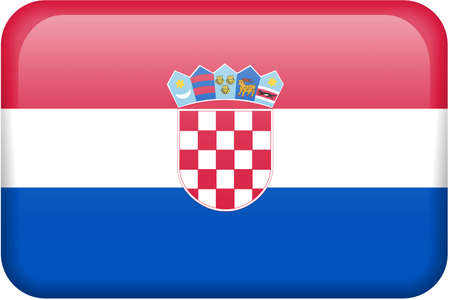Croatian flag rectangular button.  Part of set of country flags all in 2:3 proportion with accurate design and colors. Stock Photo
