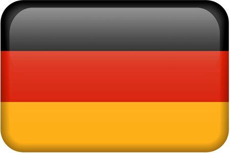 ドイツの旗の長方形のボタンです。正確なデザインや色の 2:3 の割合ですべての国のフラグのセットの一部です。