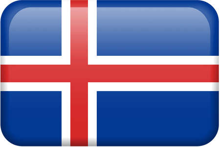 Icelandic flag rectangular button.  Part of set of country flags all in 2:3 proportion with accurate design and colors. Stock Photo