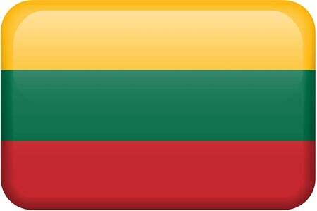 Lithuanian flag rectangular button.  Part of set of country flags all in 2:3 proportion with accurate design and colors.
