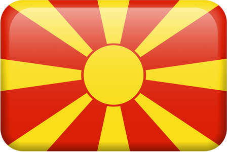Macedonian flag rectangular button.  Part of set of country flags all in 2:3 proportion with accurate design and colors. Stock Photo