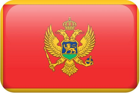 Montenegran flag rectangular button.  Part of set of country flags all in 2:3 proportion with accurate design and colors.
