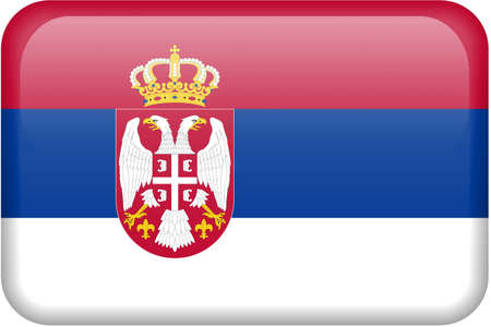 Serbian flag rectangular button.  Part of set of country flags all in 2:3 proportion with accurate design and colors.
